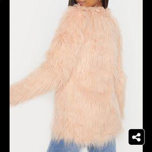 Pretty Little Thing Jackets & Coats - Nude Shaggy Faux Fur Jacket